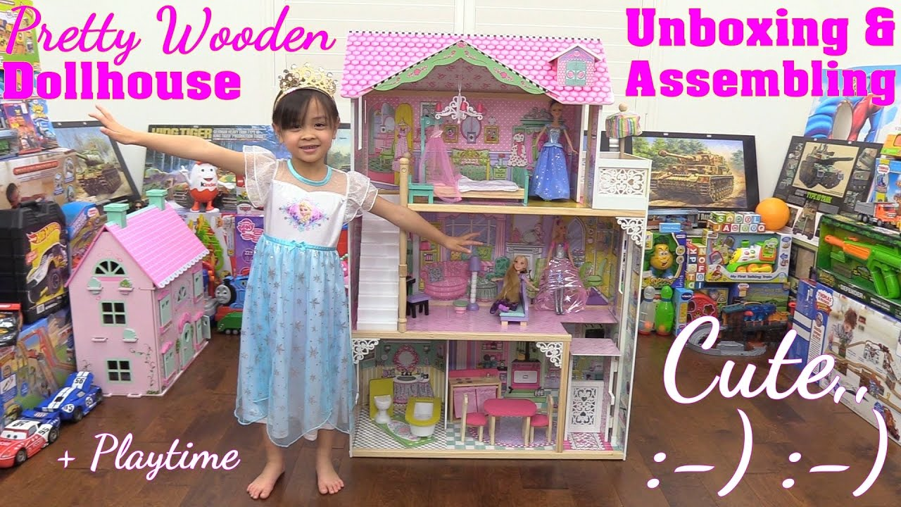 A Dollhouse with an Elevator Unboxing & Assembling  Disney Princess  Rapunzel and Barbie Dolls