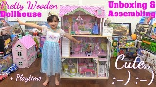 A Dollhouse with an Elevator Unboxing & Assembling. Disney Princess Rapunzel and Barbie Dolls
