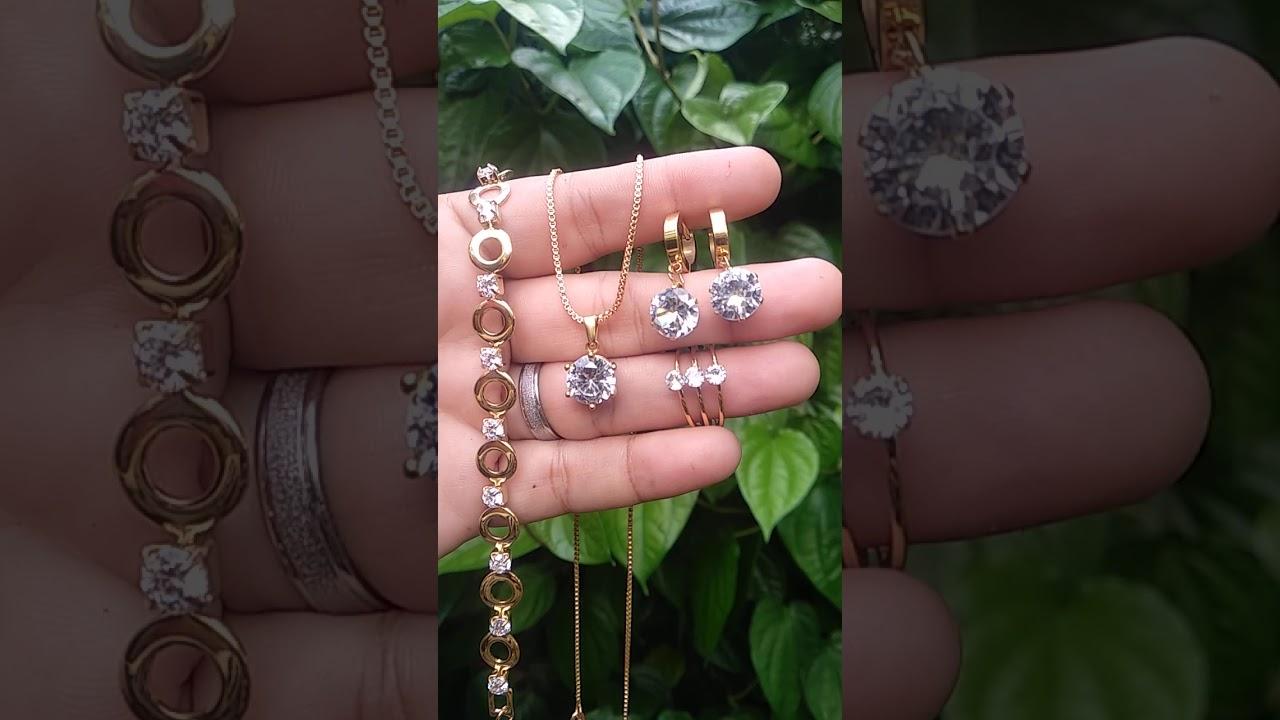 Set Perhiasan Titanium Dewasa Lapis Emas - YouTube
