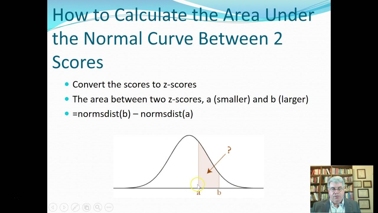 How To Calculate The Area Under The Normal Curve Between 2 Scores (excel  2016 For Windows)
