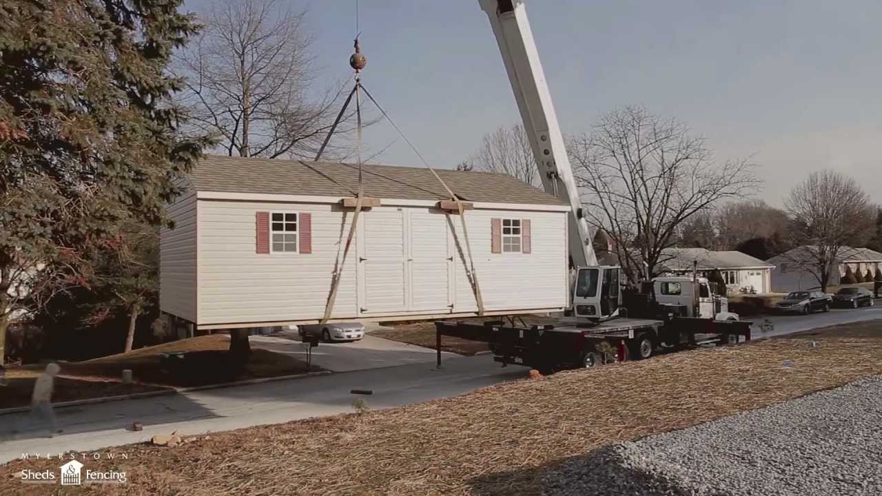 Shed Lifted Into Place By A Crane Youtube