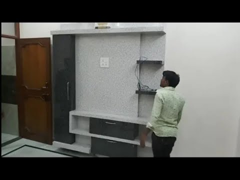 tv-यूनिट-wall-tv-पैनल-7'×6'-bedroom-tv-unit-design-how-to-pasting-charcoal-panel-tv-cabinet-delhi