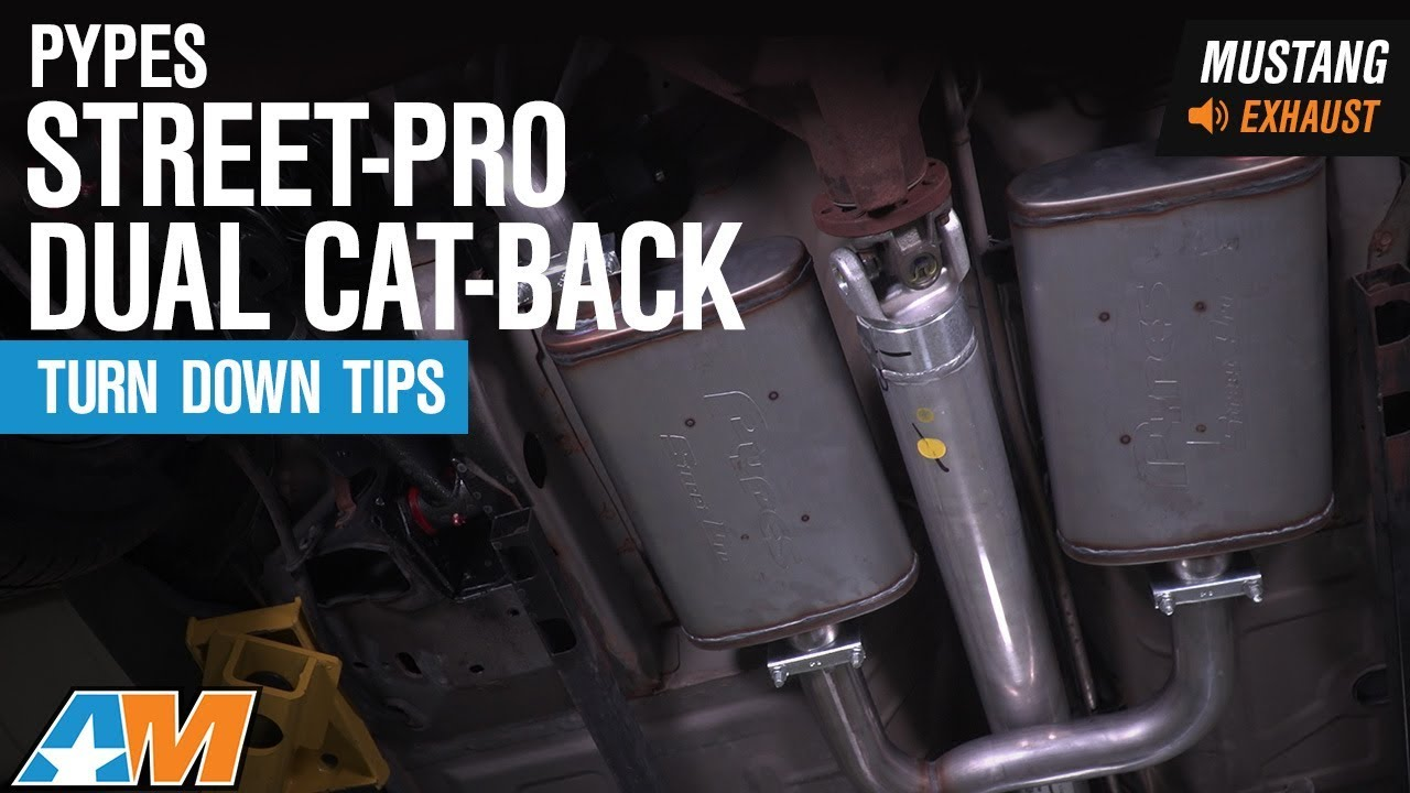 1998 2004 mustang v6 pypes street pro dual cat back turn down tips exhaust sound clip install