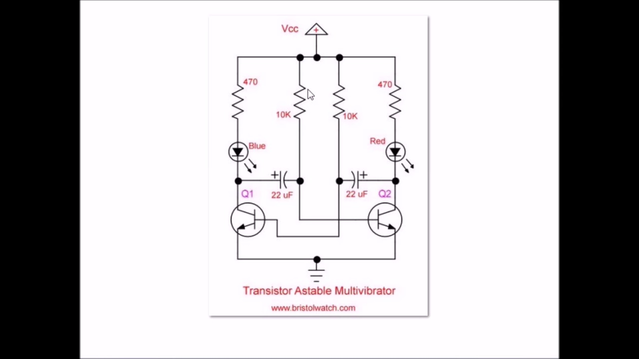simple 2 transistor led blinker circuit [ 1280 x 720 Pixel ]