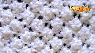 Repeat youtube video Cómo Tejer Punto Garbanzo Popcorn Stitch 2 Agujas (12)