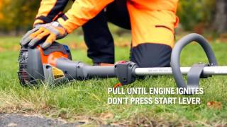 How to start a Husqvarna petrol trimmer