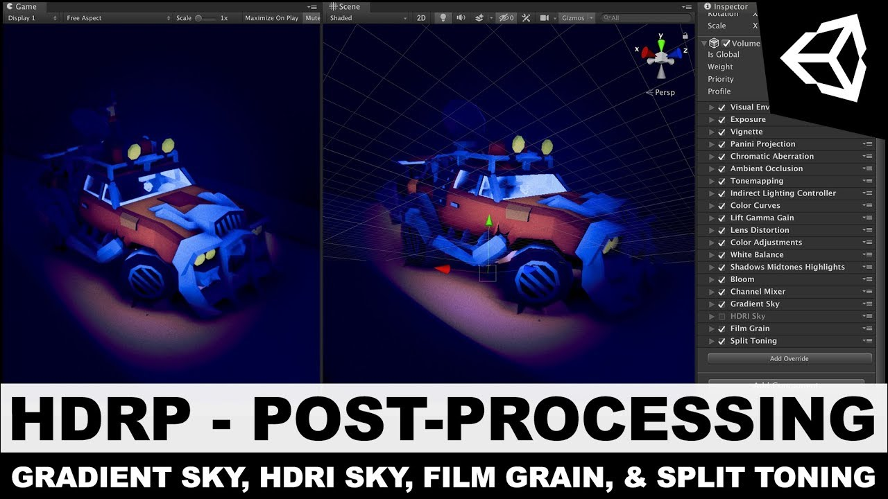 Unity3d HDRP - High Definition Rendering Pipeline Gradient & HDRI Sky, Film  Grain, and Split Toning