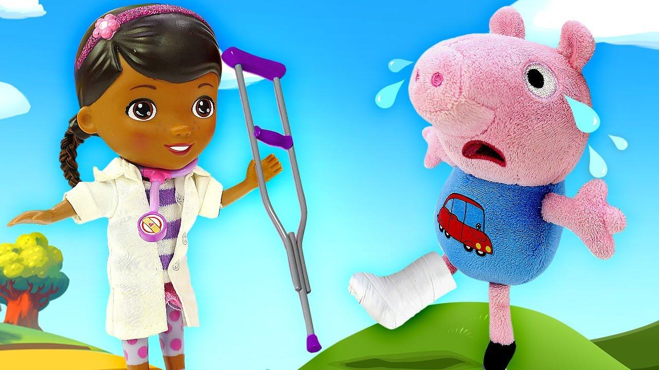 Peppa et George pig se sont trouvés à l'hôpital! Vidéo en français avec jouets pour enfants.