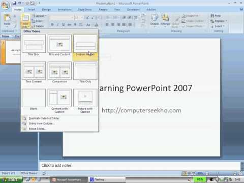 learn computer in hindi - microsoft powerpoint 2007 basics part 1, Powerpoint templates
