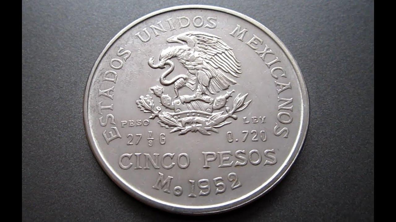 1952 Cinco Pesos The Mexican Mint La Casa De Moneda De