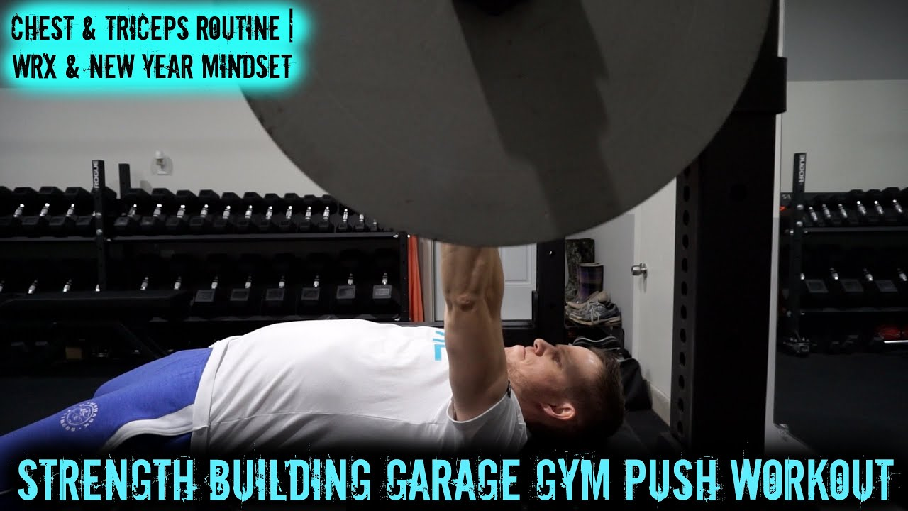 Strength building garage gym push workout chest triceps
