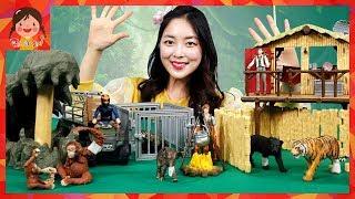정글 친구들을 구해라! 슐라이히 크로코 정글 탐험 베이스캠프 와일드라이프 동물 피규어 자연놀이 상황극 장난감 [유라]