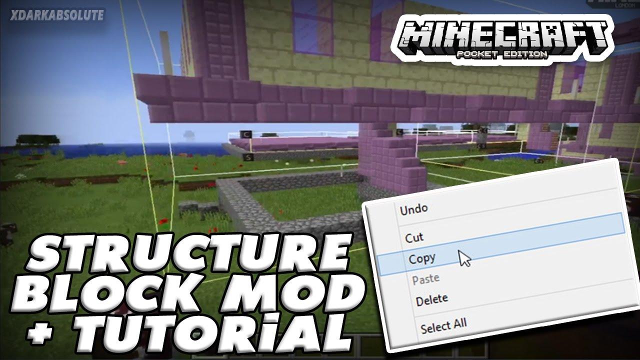 COPY & PASTE STRUCTURES!! Minecraft PE: Mod Showcase - STRUCTURE BLOCK MOD!