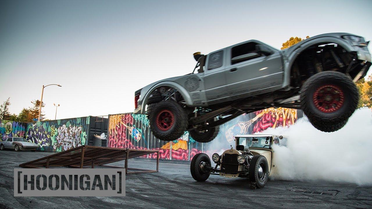 Ford Ranger Truck >> [HOONIGAN] DT 134: Prerunner Jumping over Hand-Controlled Hot Rod - YouTube