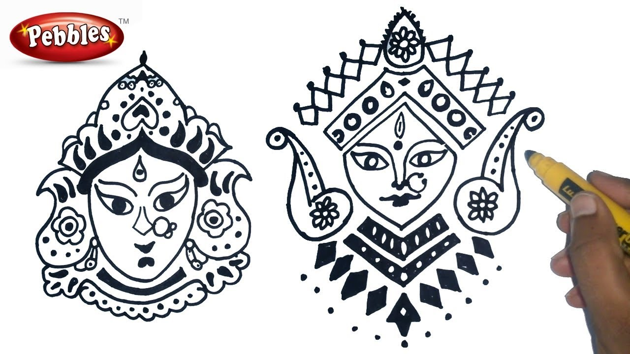 How to draw durga maa durga puja drawing for kids navratri special easy durga drawing