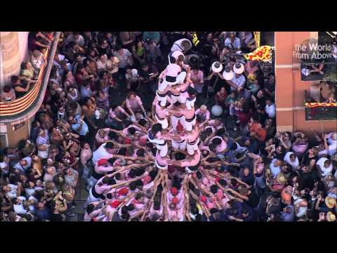 The Human Castle - Catalan Castellers from Above in High Definition (HD)