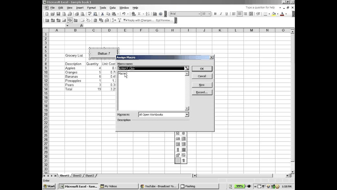 Excel 2003: How to create a macro button in excel - YouTube