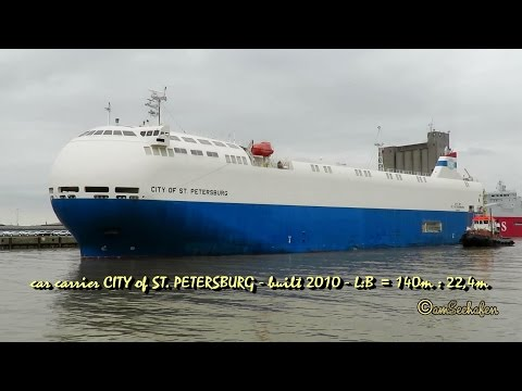 car carrier City of St Petersburg 3FIM5 IMO 9473456 Autotransporter Emden seabound tug Schlepper