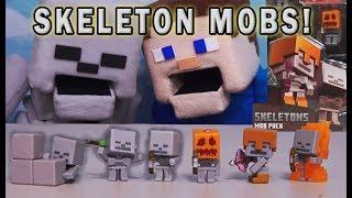 Minecraft Skeleton Mob Pack Mini Figures Set Mattel Unboxing Exclusive Skeletons Puppet Steve