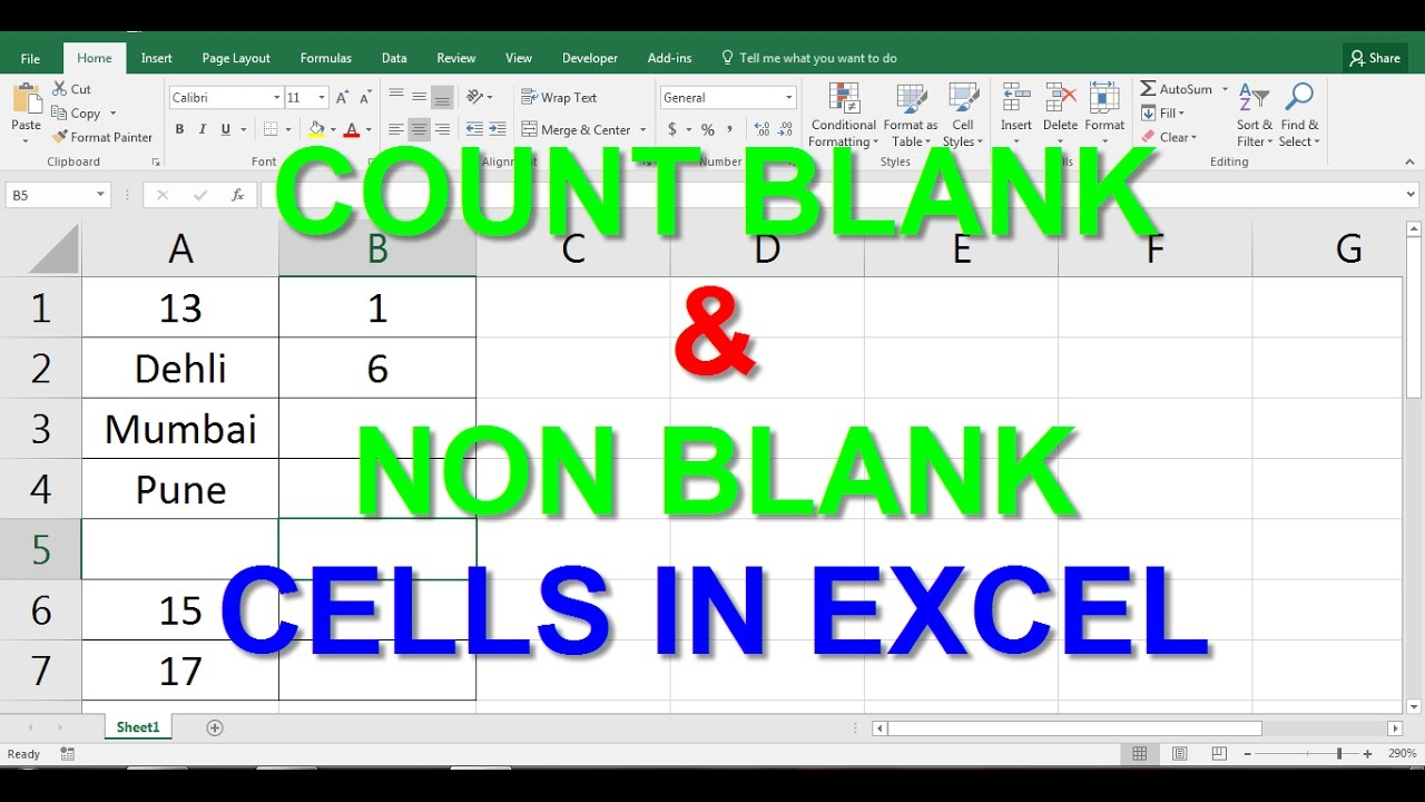 COUNT BLANK and NON BLANK CELLS in EXCEL - YouTube
