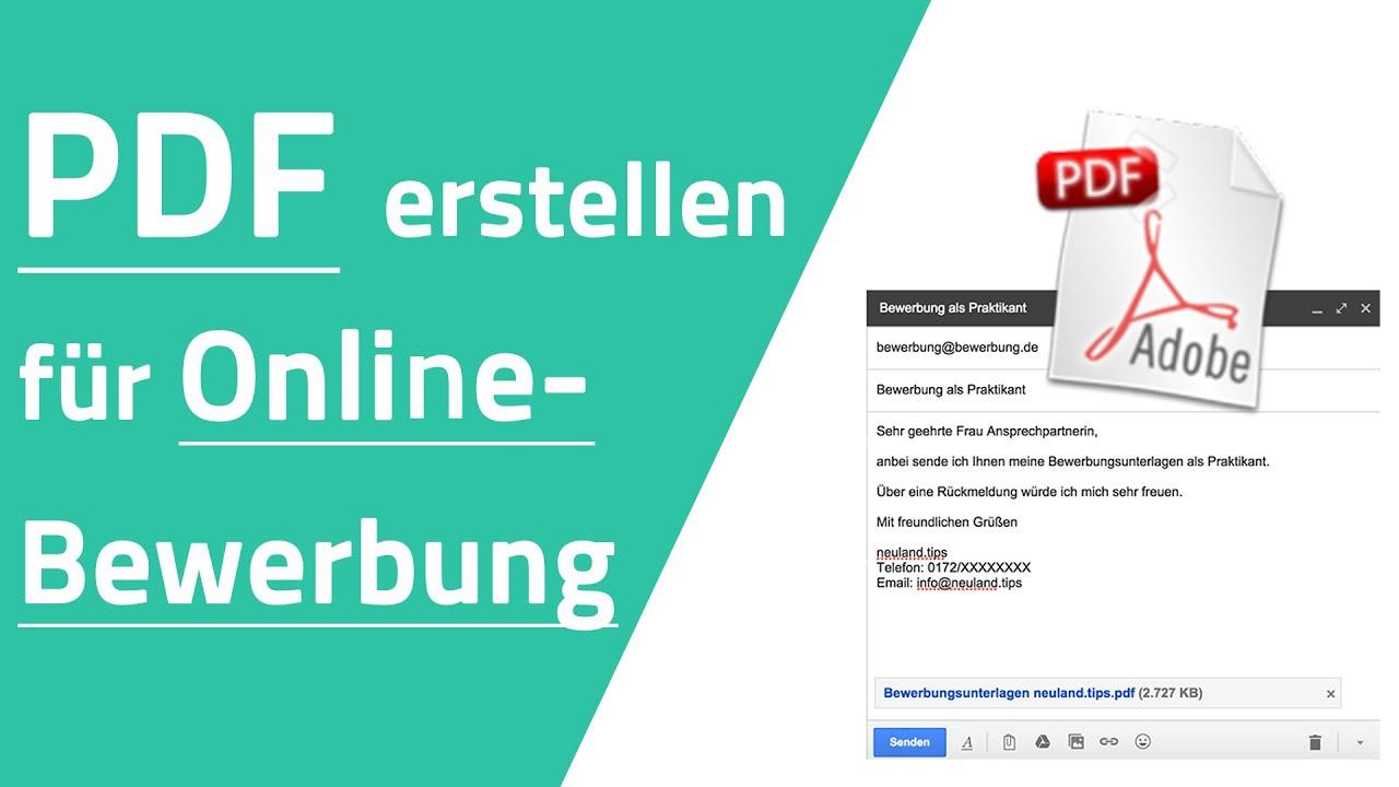 PDF Datei erstellen fr OnlineBewerbung  YouTube