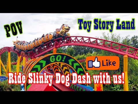 Toy Story Land Opening Day! SLINKY DOG DASH & Alien Swirling Saucers - Some POV with Fireworks View!
