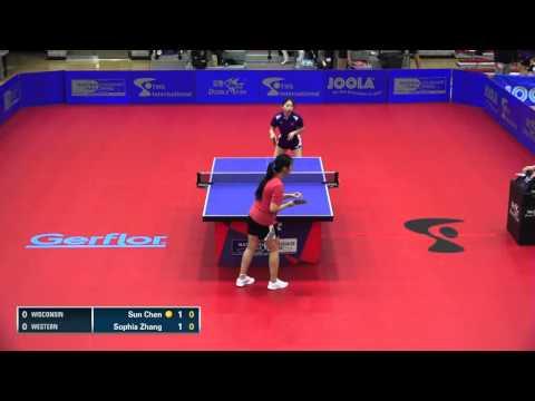 2016 NCTTA Nationals Women's Teams 1/2 Final - Sun Chen (Wisconsin) vs Sophia Zhang (Western)