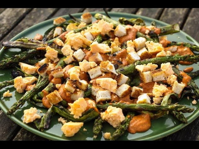 Genevieve Taylor - Grilled spring onion & asparagus salad with romesco dressing