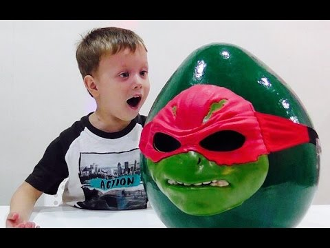 ★ Черепашки Ниндзя- большое яйцо сюрприз- распаковка игрушки TMNT. giant surprise egg with toys