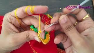 ಈಸಿ ಬ್ರೈಡಲ್ ಕ್ರೋಶಾ ಸಾರಿ ಕುಚ್ಚು ಡಿಸೈನ್ | ಗ್ರ್ಯಾಂಡ್ ಸ್ಟೋನ್ ವರ್ಕ್ ಡಬಲ್ ಕಲರ್  Bridal Design #sareekuchu