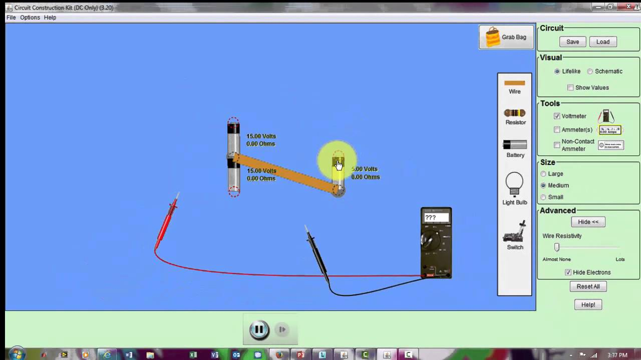 Part 2 Phet Simulation To Measure Voltage With A Voltmeter Or Circuit Construction Kit Dc Only Digital Multimeter