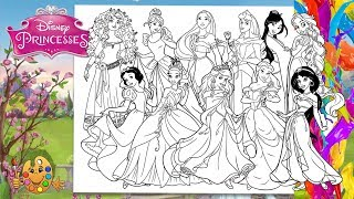 Disney Princesses : All Together | Coloring pages for kids | Coloring book |