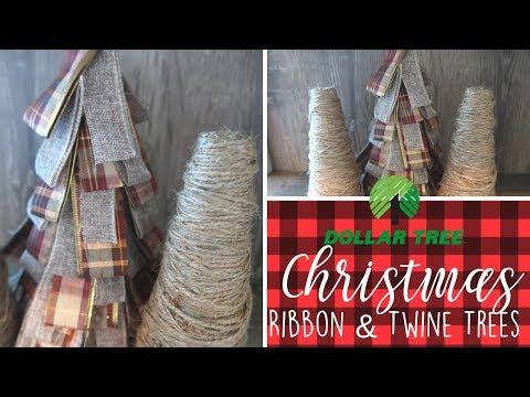 DIY Dollar Tree Christmas Farmhouse Decor | Ribbon and Twine Trees | Rustic Christmas Decor