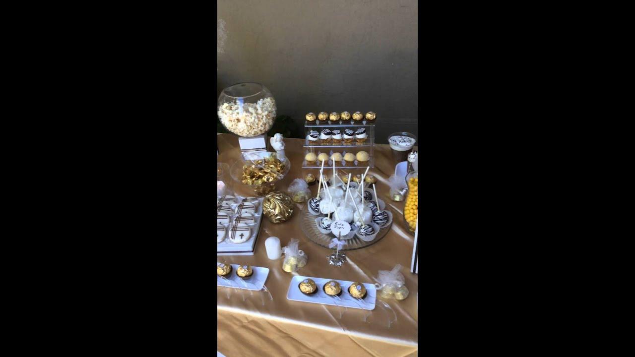 Mesa de dulces para bautizo primera comunion youtube - Como hacer centros de mesa con dulces para bautizo ...