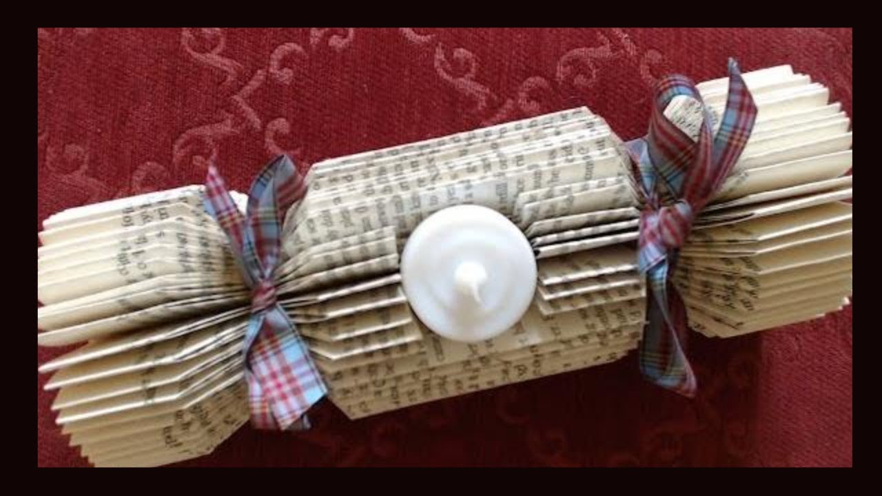 Book Folding Christmas Cracker With Candle Recess Make