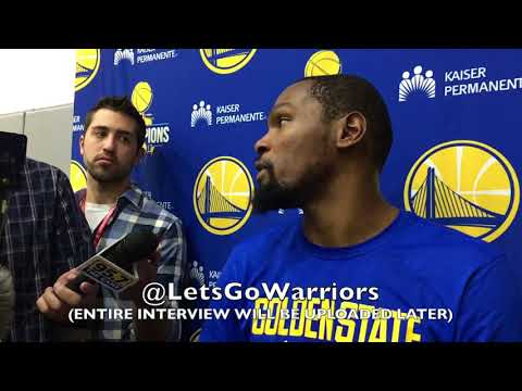 Partial KEVIN DURANT interview from Warriors practice, two days before Game 1 vs Spurs