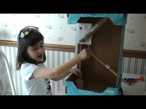 Simple machine project with inclined planes, lever, pulley and wedge