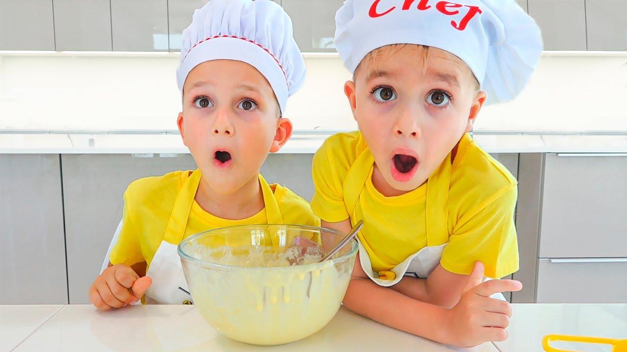Vlad e Niki cozinhando e brincando com a mamãe - Compilação de vídeo para crianças