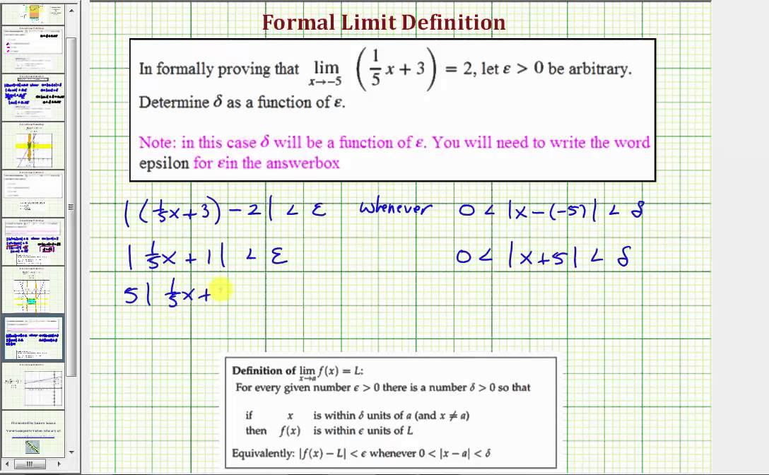Ex 1: Limit Definition - Determine Delta for an Arbitrary