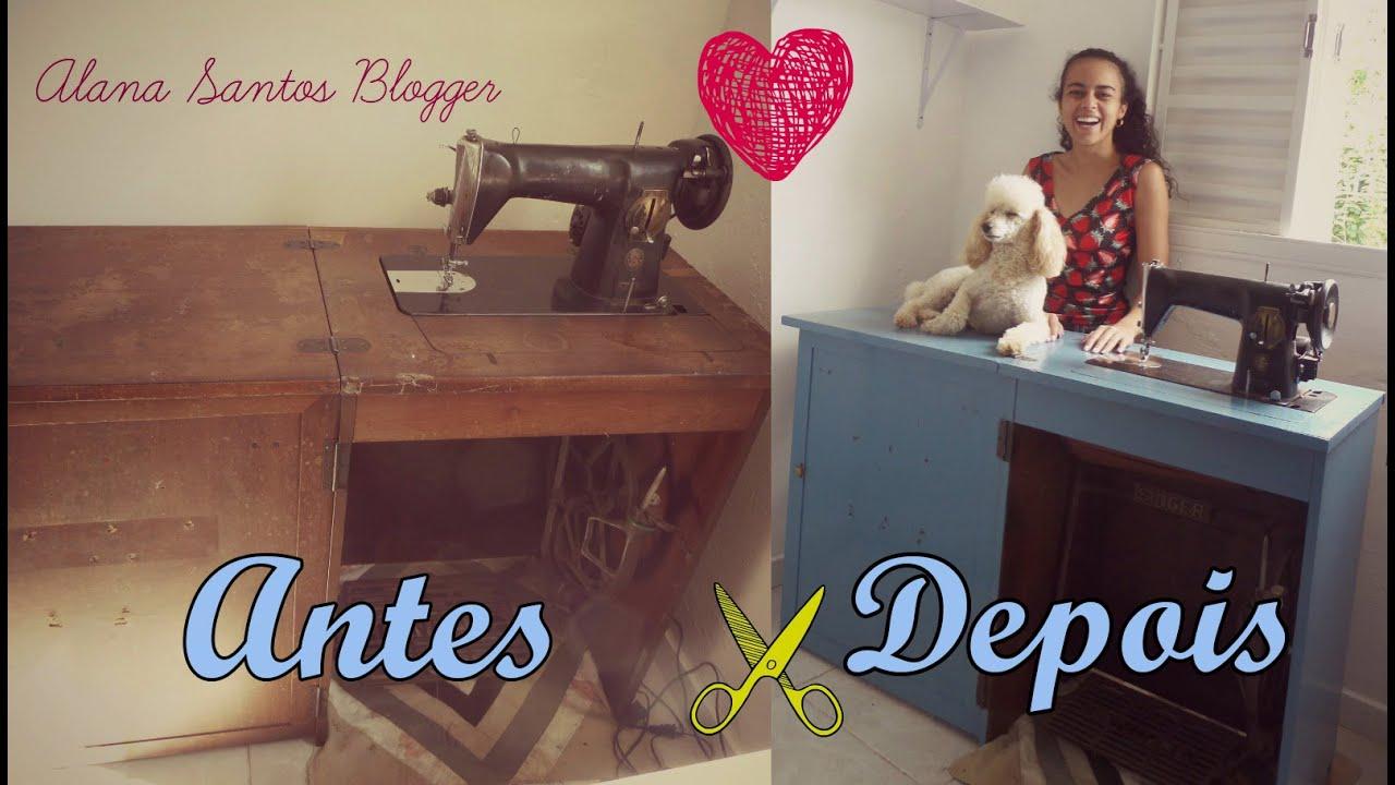 Pintando o gabinete mesa da m quina de costura com alana - Mesas para costura ...