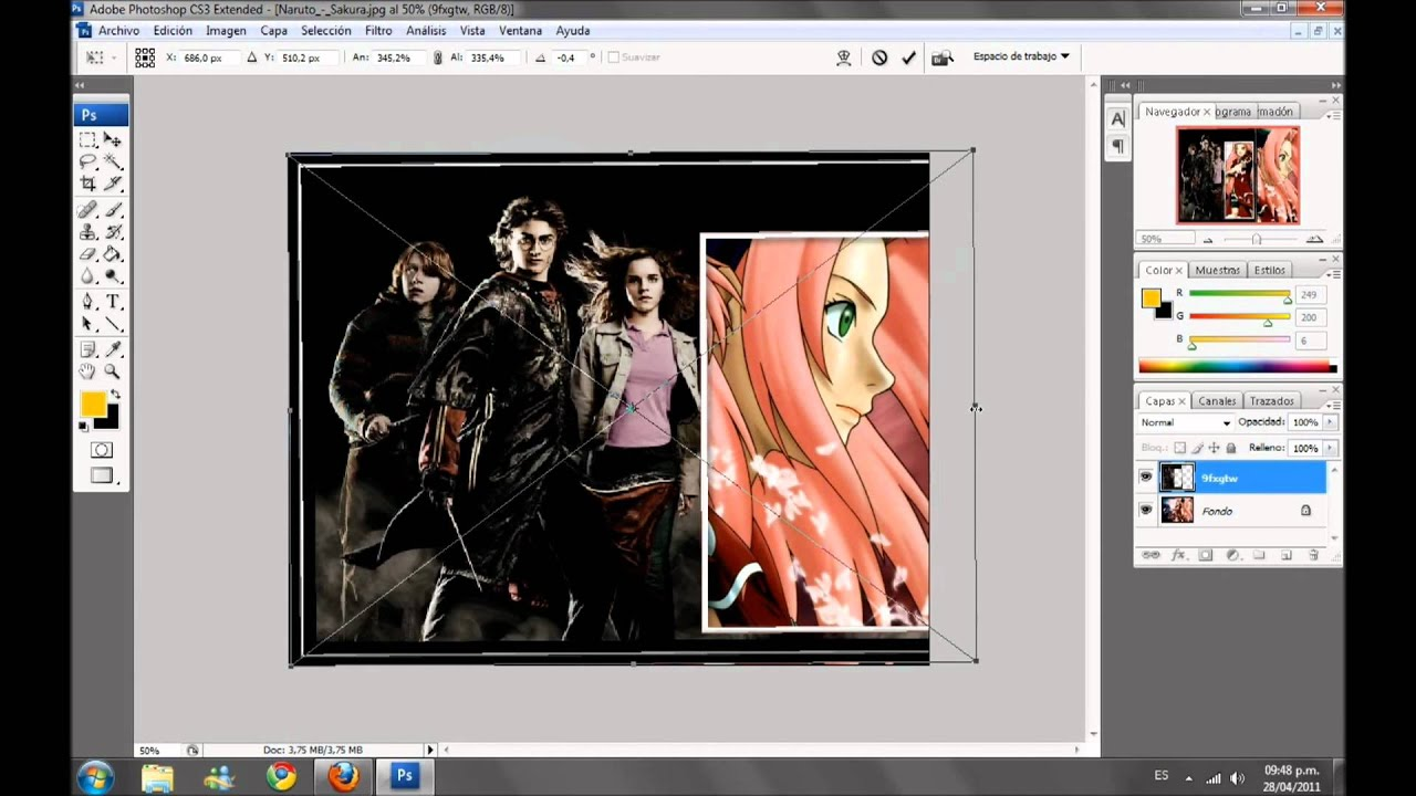 como descargar y poner marcos a las fotos en photoshop - YouTube