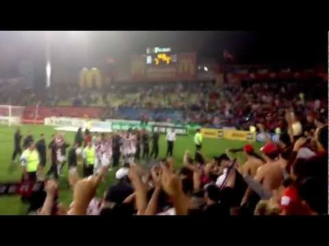 Wanderers 3 Jets 0 @ Hunter Stadium - post-match celebrations with the players