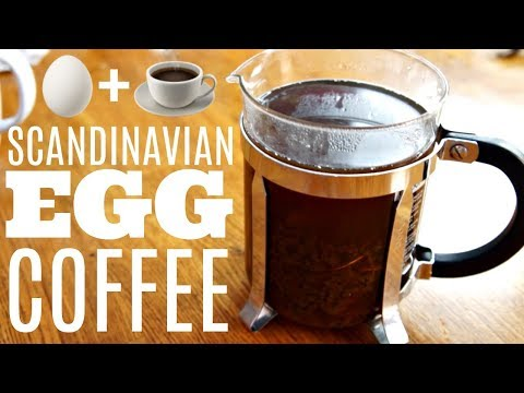 Scandinavian EGG COFFEE - brewing coffee with an egg, SHELL & all