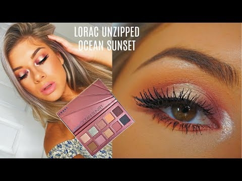 NEW Lorac Unzipped Ocean Sunset Eyeshadow Palette Review/Swatches/Tutorial - Halo Eye Makeup Look