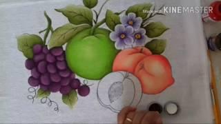 Pintura em tecido para iniciante pêssegos