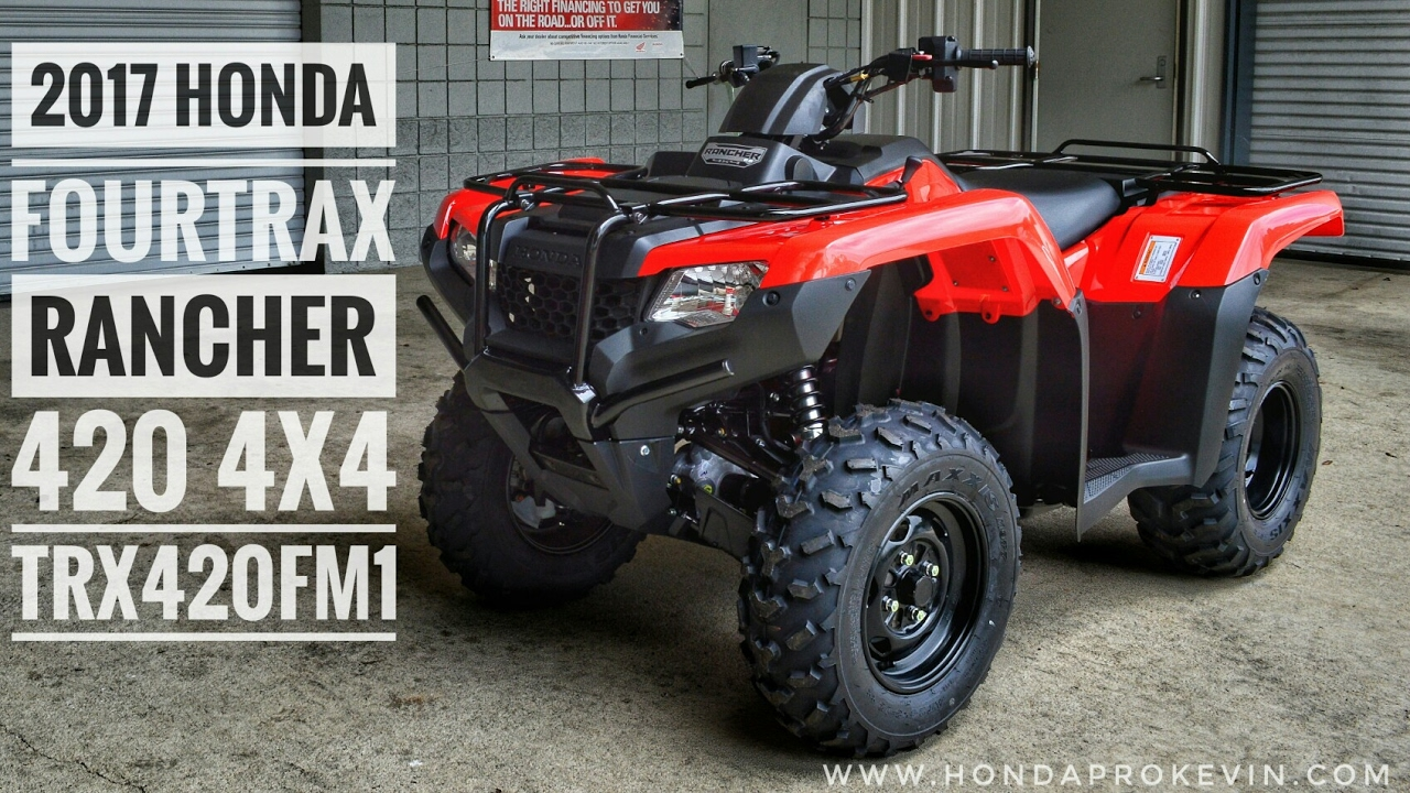 2017 Honda Rancher 420 4x4 ATV (TRX420FM1H) Walk-Around Video | Red