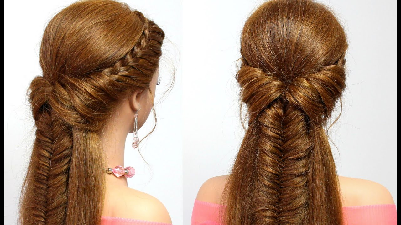 Easy hairstyle for long hair with braids tutorial - YouTube