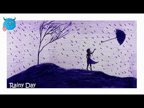 how-to-draw-a-scenery-of-rainy-day-pencil-drawing-easy-in-color