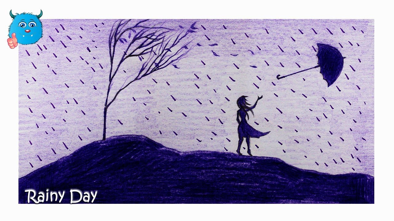 How to draw a scenery of rainy day pencil drawing easy in color