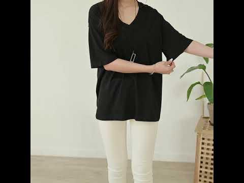 데일리앤 센츠 여성 브이넥 루즈핏 기본 티셔츠